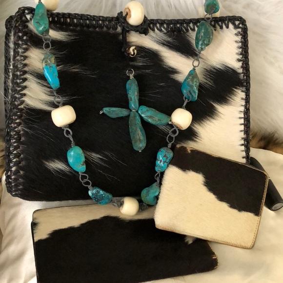 Handbags - Custom Turquoise South Western 3 pc set Cow Hide